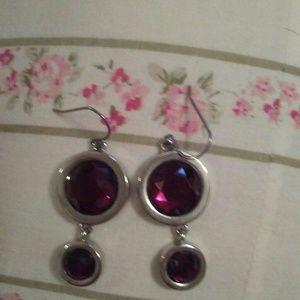 Chico's Raspberry/Pink Teardrop Earrings
